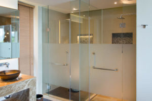 Modern interior glass bathroom shower