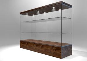 Empty rectangular glass display cabinet