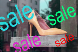 "Color the word ""sale"" on the glass storefront"
