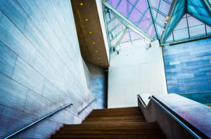 Staircase and glass in the National Gallery of Art