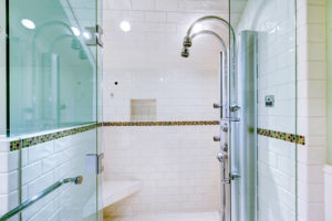Large walk-in shower with steam system