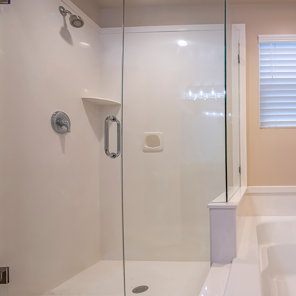 Square frame glass walled shower