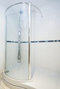 Glass shower door for small bathroom