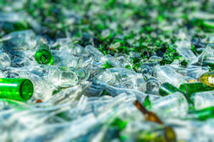 glass recycling in a huge pile